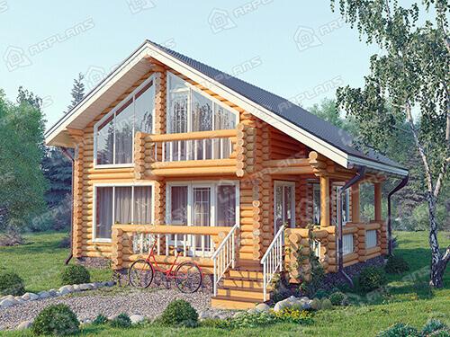 Готовый проект деревянного дома из бревна 9 на 11 м с террасой