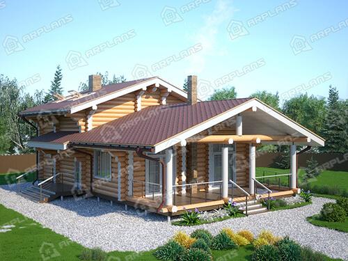 Готовый проект деревянного дома из бревна 8 на 11 м с сауной